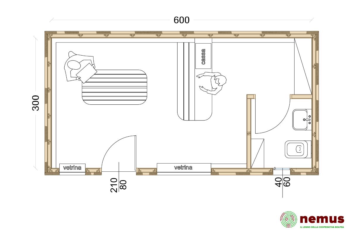 Biochalet ad uso edicola, piantina di una possibile configurazione