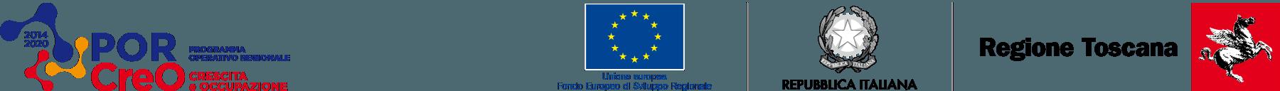Loghi del progetto PORCreO, dell'Unione Europea, della Repubblica Italiana e della Regione Toscana