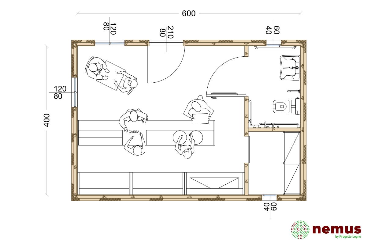 Biochalet ad uso bar, piantina di una possibile configurazione